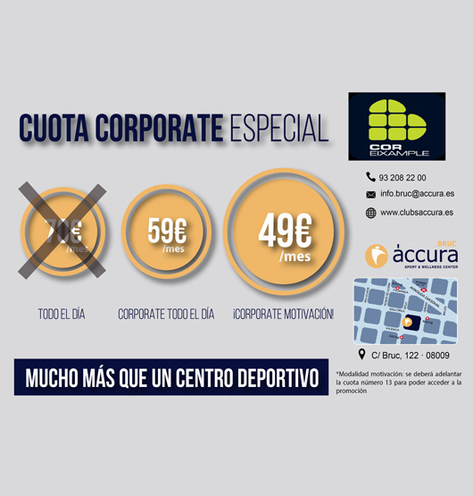 Quota especial a Accura Bruc pels associats de CorEixample